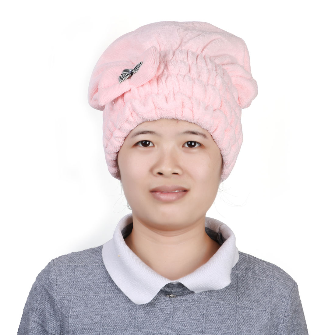 Shower Microfiber Elastic Bowknot Decor Water Absorbent Dry Hair Cap Hat Pink