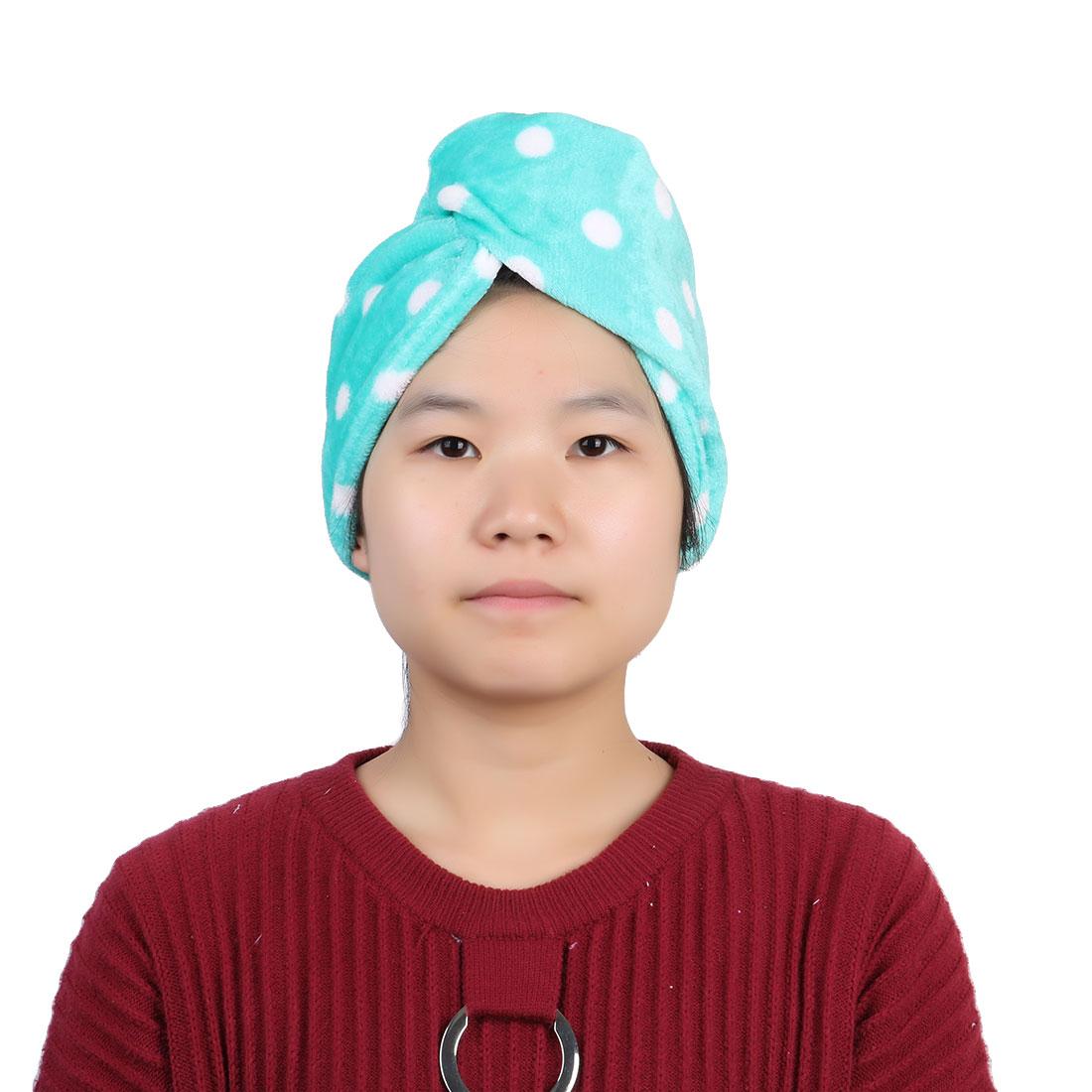 Bathroom Flannel Dot Pattern Water Absorbent Shower Hat Dry Hair Cap Green
