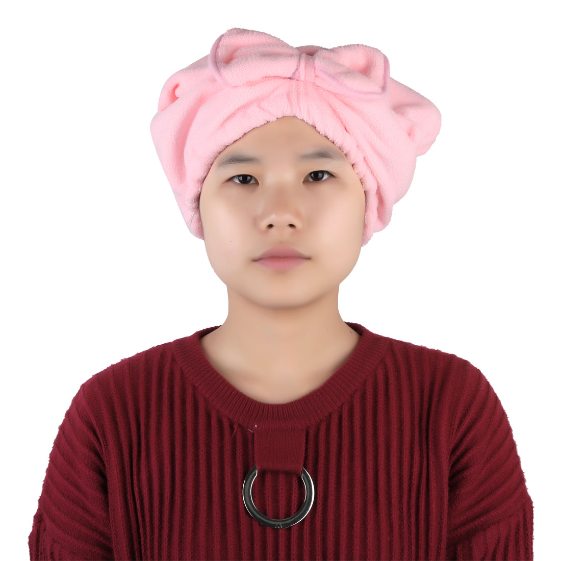 Women Bathroom Spa Microfiber Bowknot Decor Elastic Band Dry Hair Cap Pink