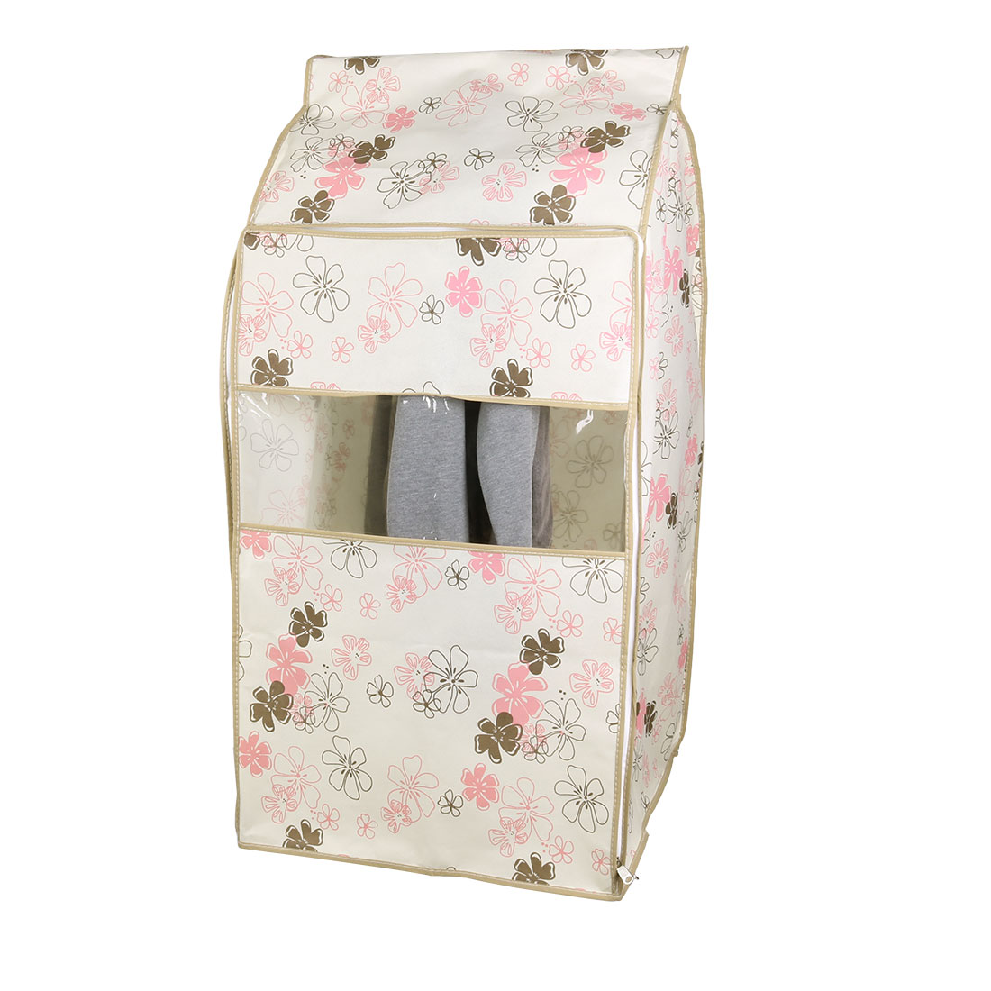 Home Non-woven Fabric Flower Pattern Zippered Garment Suit Clothing Protector Cover Bag Beige 53 x 50 x 95cm