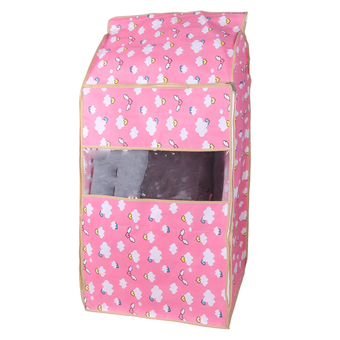 Home Non-woven Fabric Angel Pattern Zippered Garment Suit Clothing Protector Cover Bag Pink 53 x 50 x 95cm