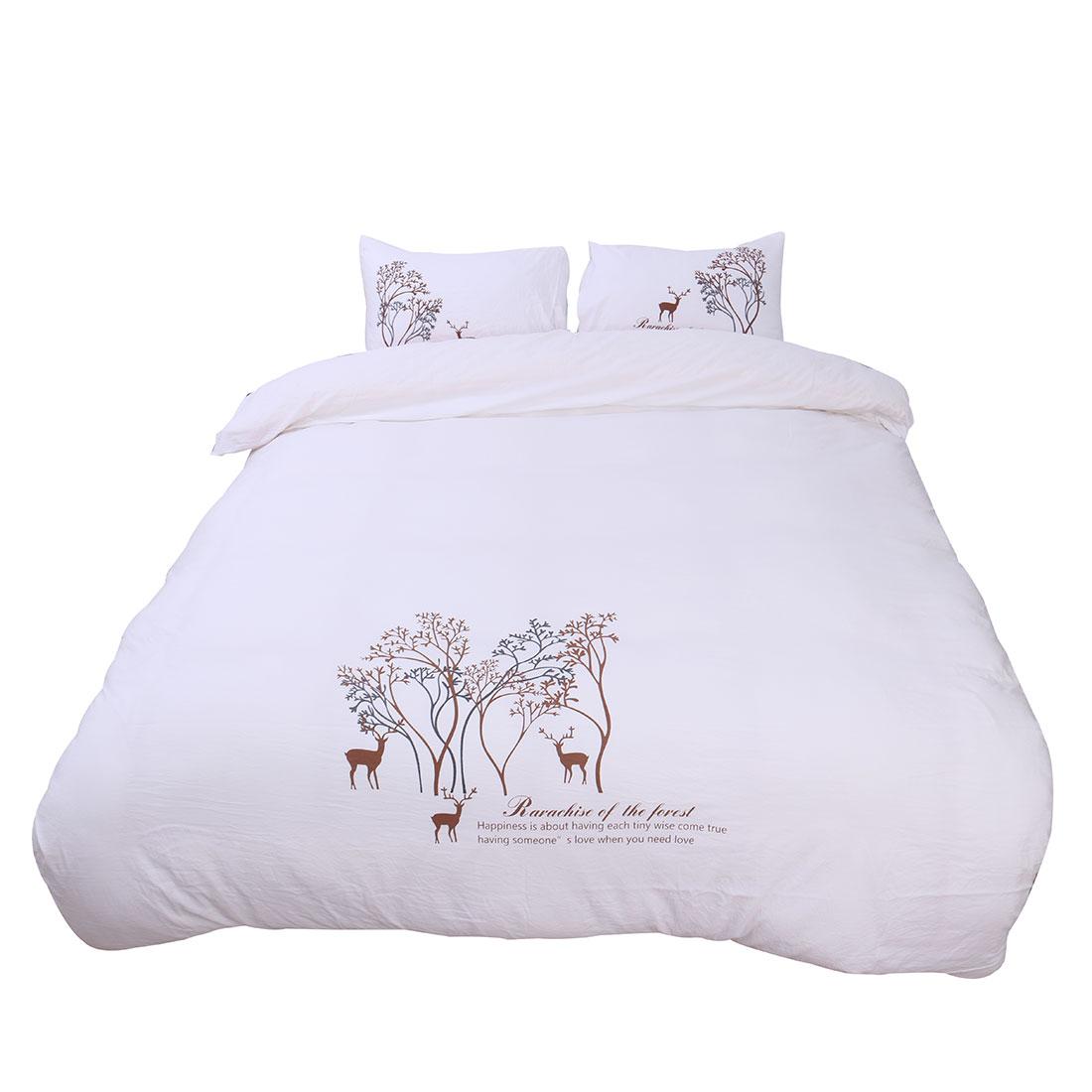 Duvet Cover Set Duvet Quilt Cover and Pillowcase Bedding Set White 104 x 90 Inch
