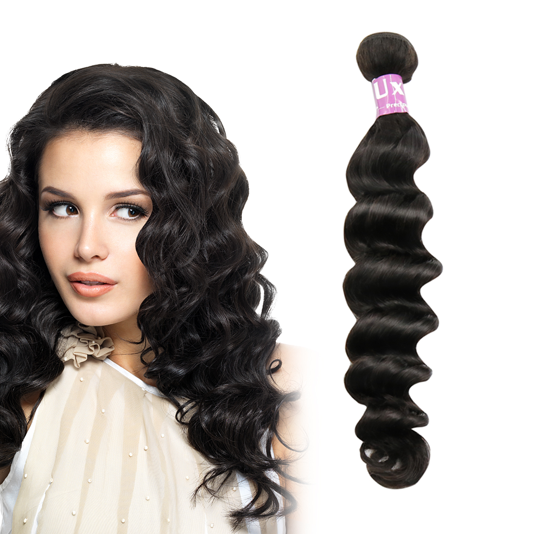 "UXCELL Peruvian Virgin Human Hair Weave Extensions Loose Curly 8A 22"" 1 Bundle"