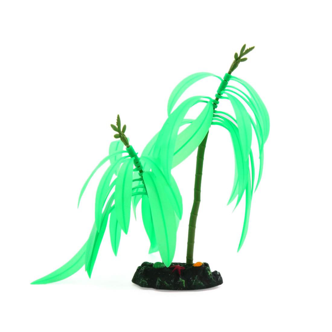 Two Branches Glowing Effect Fish Tank Aquarium Artificial Coral Plant Green