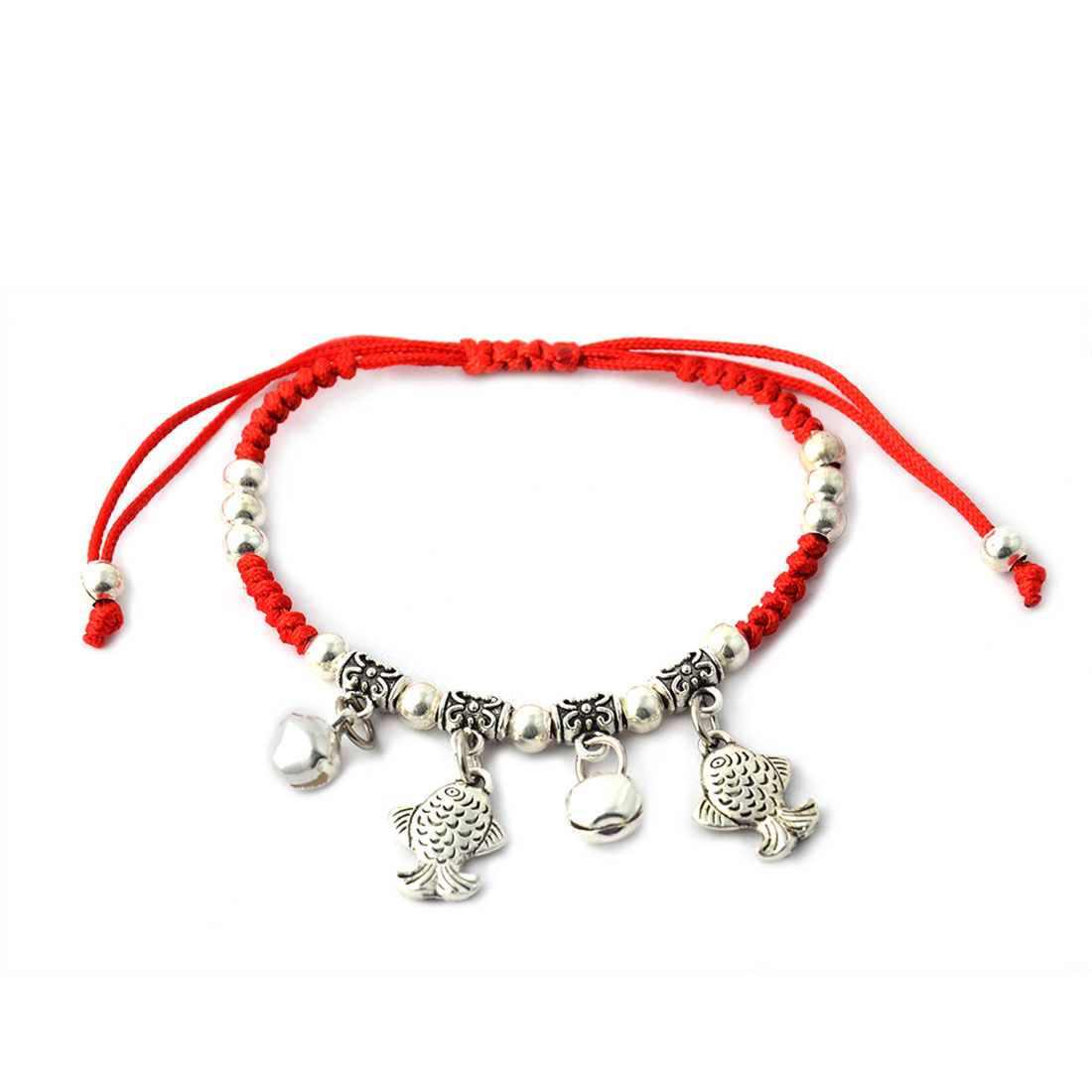 Women Lady Braided Rope Beads Fish Bell Pendent Pull String Wrist Bracelet