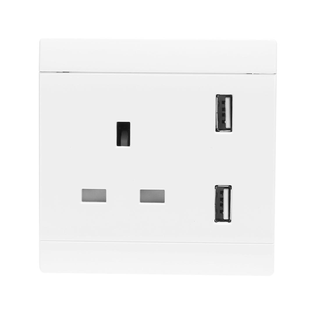 AC 110/220V UK Socket 2 USB Port Charging DC 5V 4.8A Mains Power Wall Outlet
