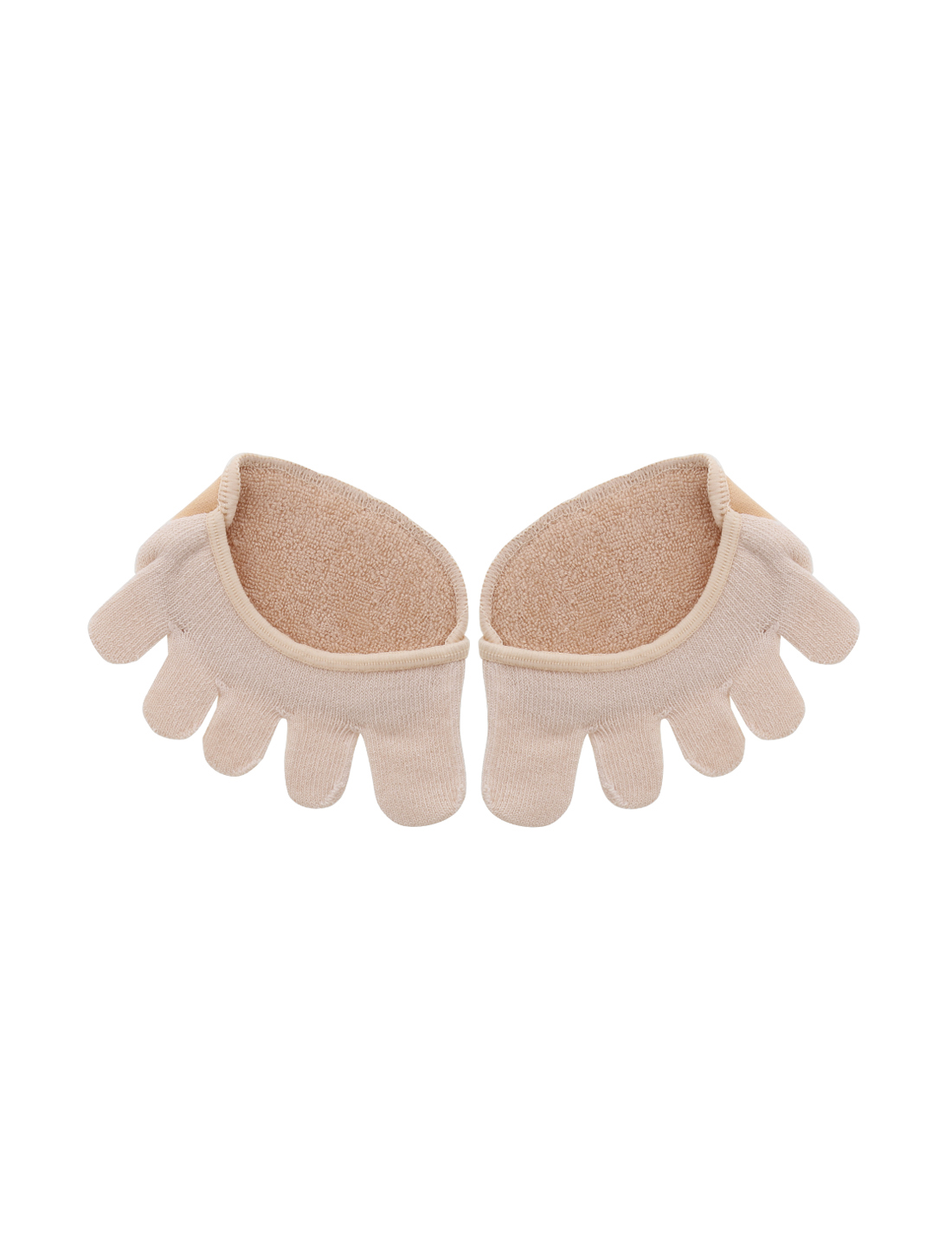 Unisex No Show Yoga Heelless Half Toe Socks 1 pair Beige-2 One Size