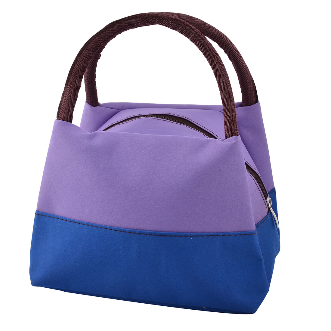 Oxford Cloth Zipper Closure Picnic Lunch Tote Cooler Bag Light Purple Royal Blue