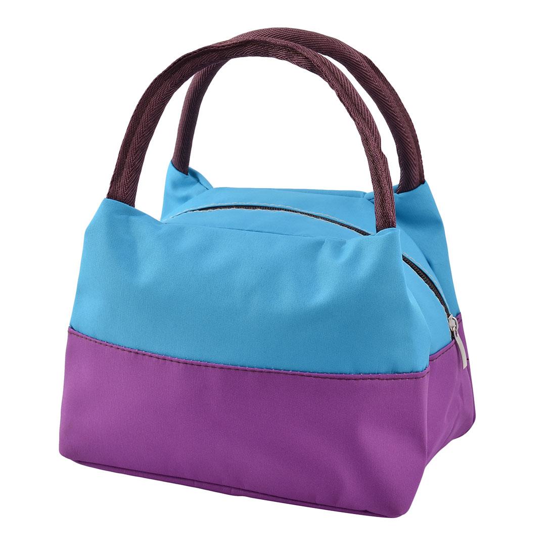 Oxford Cloth Zipper Closure Picnic Lunch Carry Tote Cooler Bag Dark Purple Blue