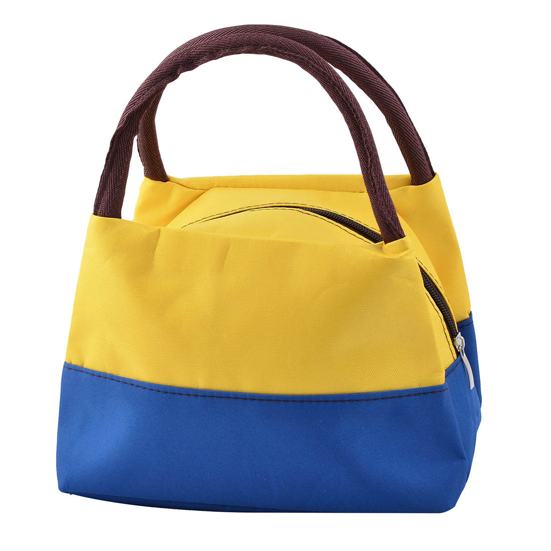 Outdoor Oxford Cloth Zipper Closure Lunch Pouch Cooler Bag Royal Blue Yellow