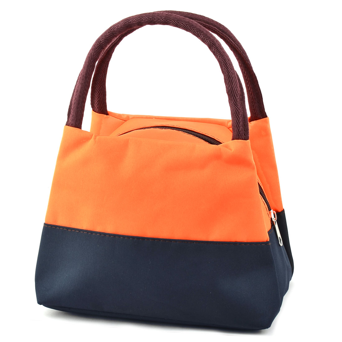 Outdoor Oxford Cloth Zipper Closure Lunch Pouch Tote Cooler Bag Orange Navy Blue