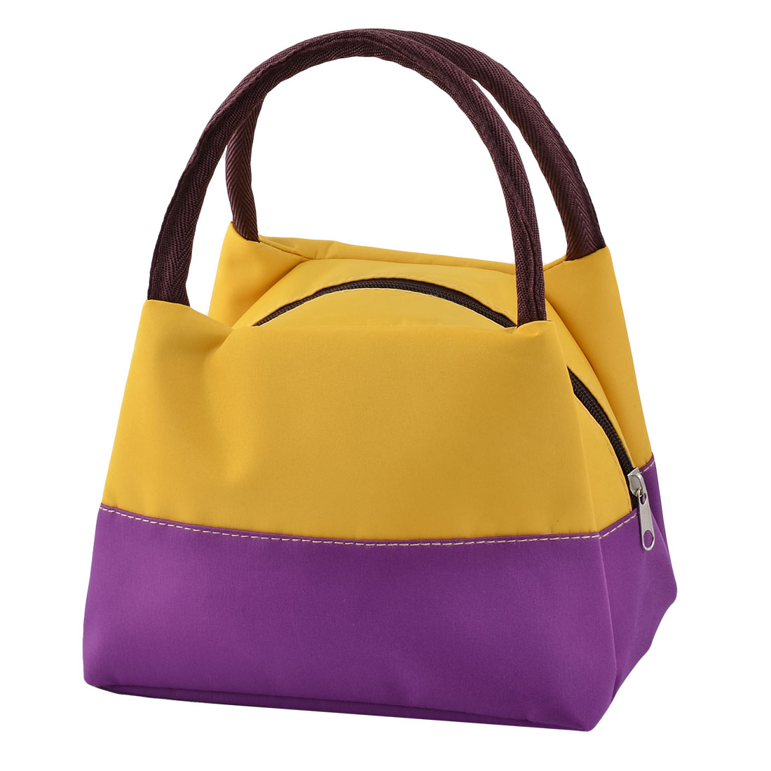 Oxford Cloth Zipper Closure Lunch Carry Tote Pouch Cooler Bag Yellow Dark Purple