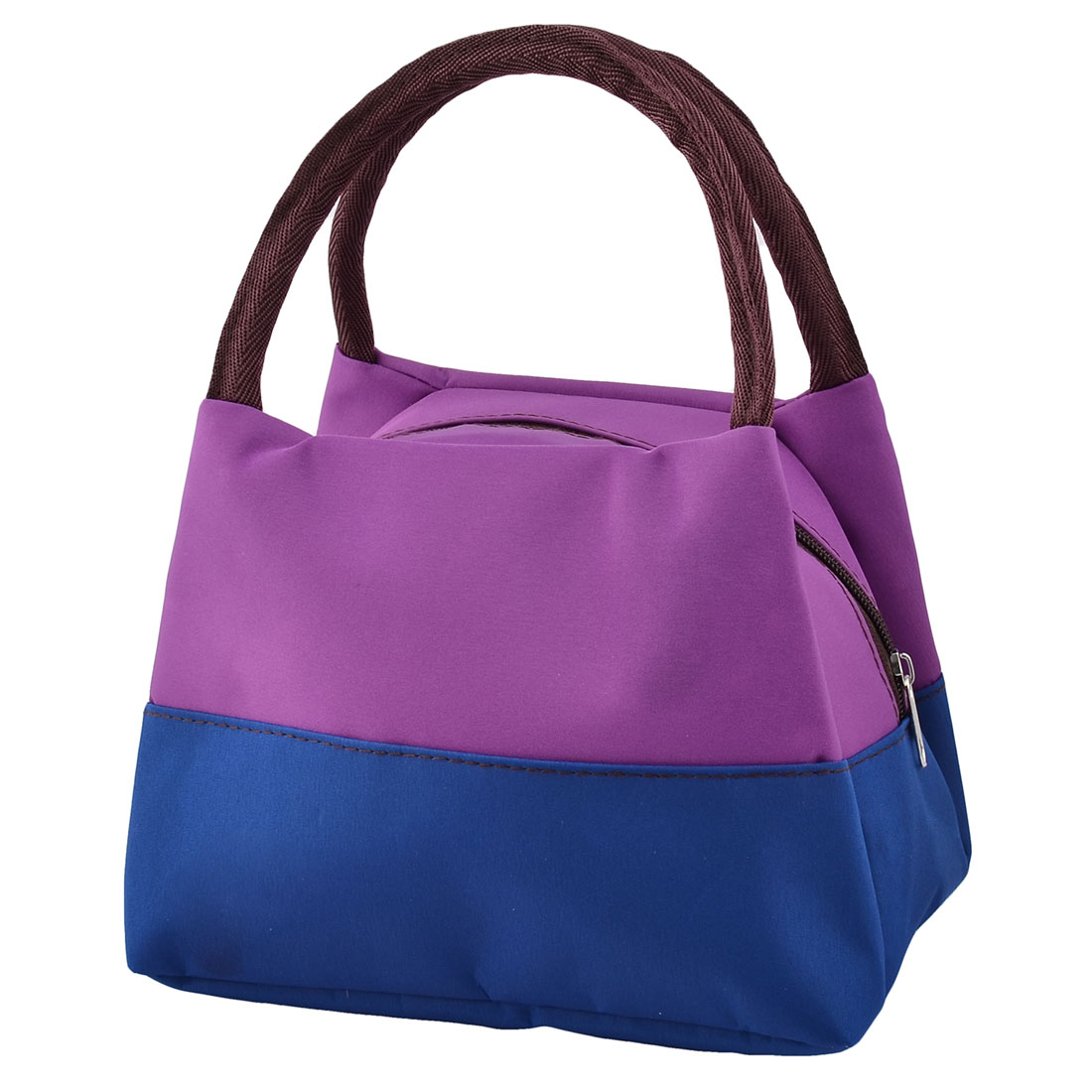 Outdoor Zipper Closure Lunch Carry Tote Pouch Cooler Bag Dark Purple Royal Blue