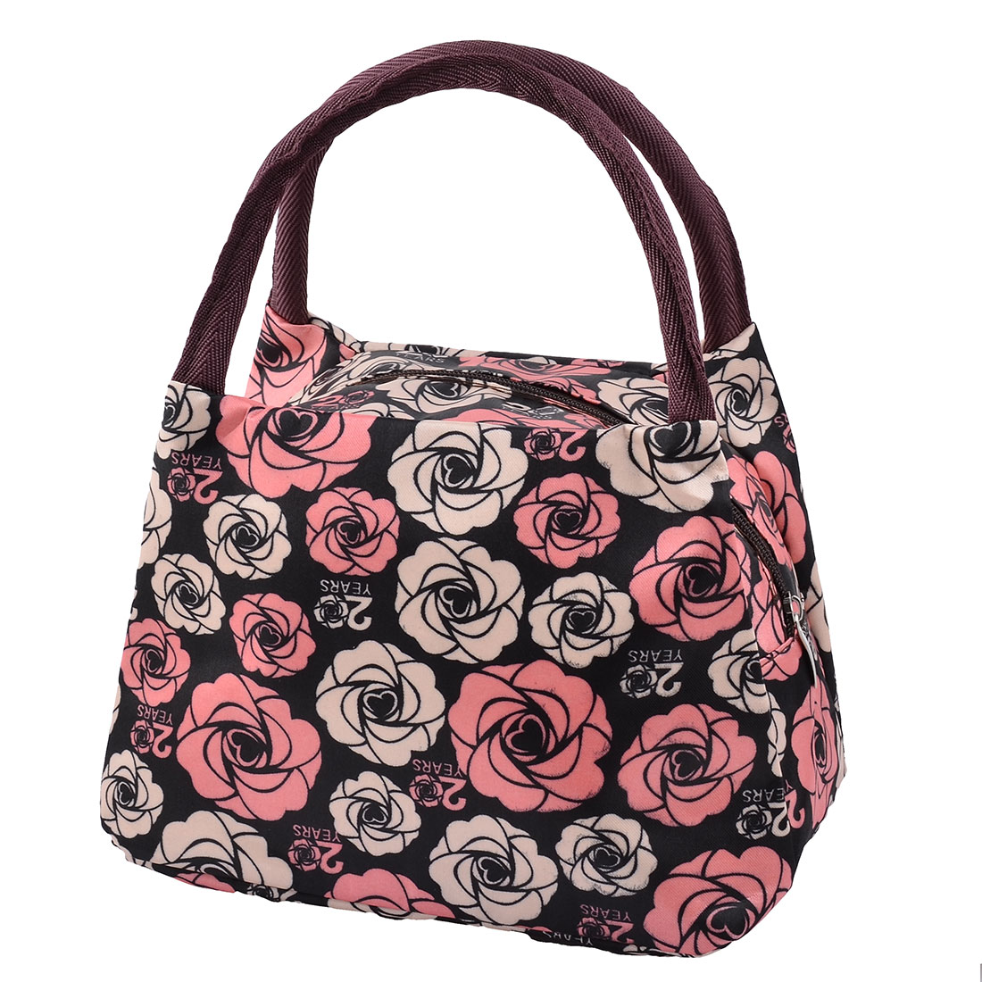 Outdoor Picnic Oxford Cloth Rose Pattern Lunch Holder Storage Cooler Pouch Bag