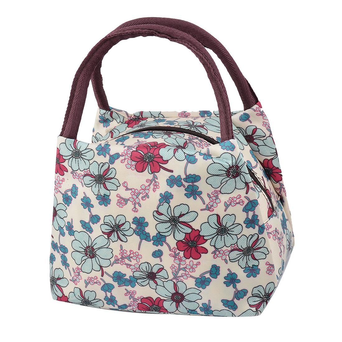 Outdoor Picnic Oxford Cloth Flower Pattern Lunch Holder Cooler Pouch Handbag Bag