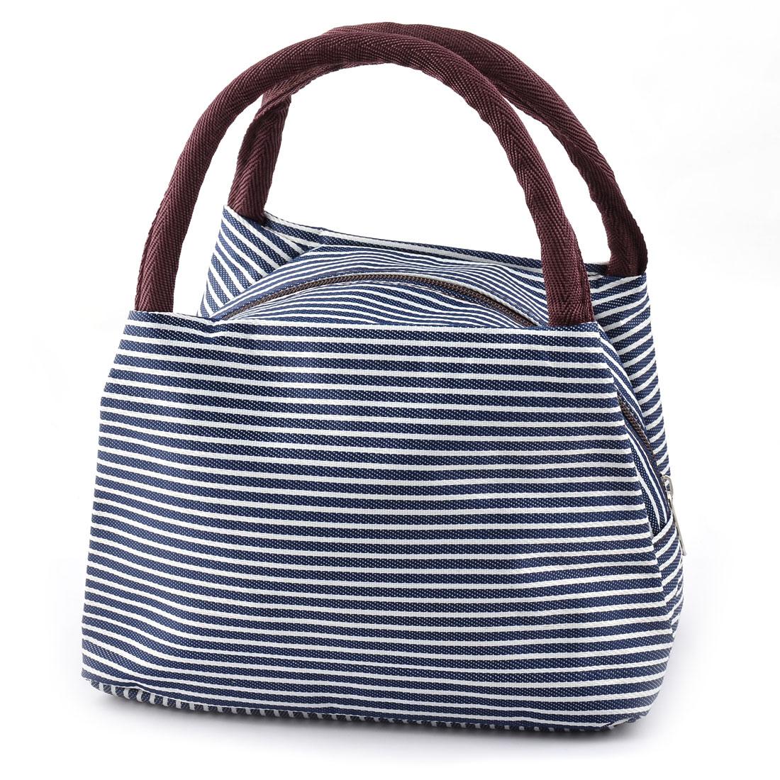 Outdoor Linen Cotton Stripe Pattern Lunch Holder Cooler Pouch Handbag Bag