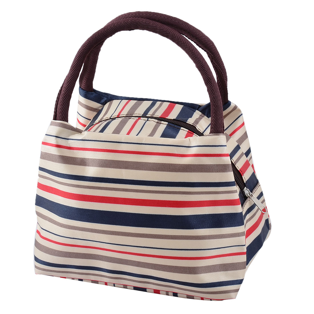 Outdoor Travel Linen Cotton Stripe Pattern Lunch Storage Cooler Pouch Tote Bag