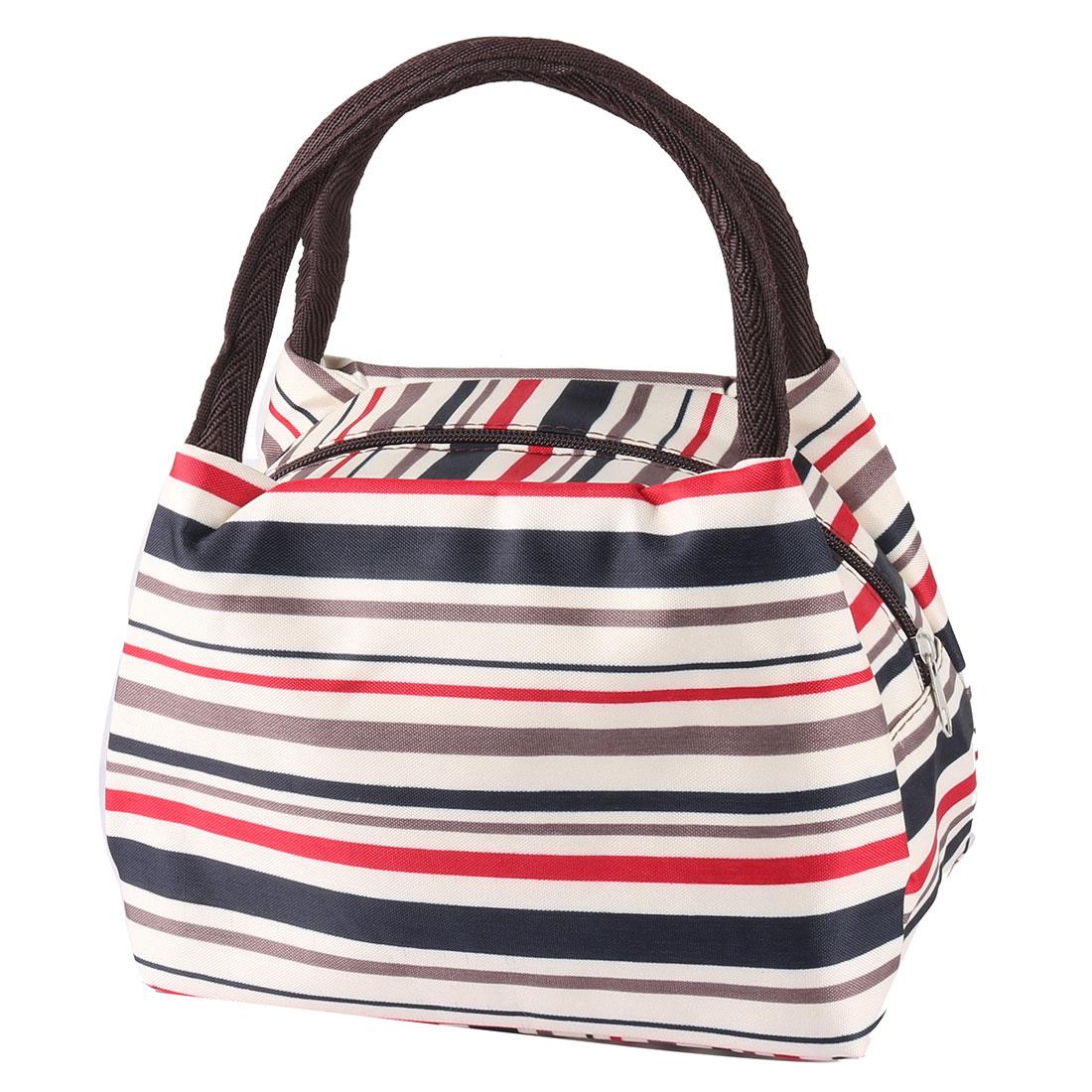 Household Linen Cotton Stripe Pattern Lunch Holder Cooler Pouch Handbag Bag