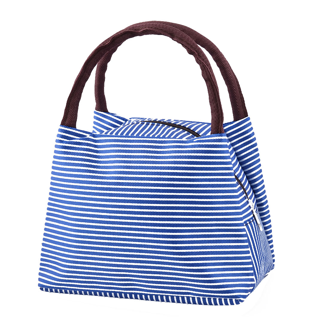 Outdoor Linen Cotton Stripe Pattern Lunch Holder Cooler Pouch Handbag Bag Blue