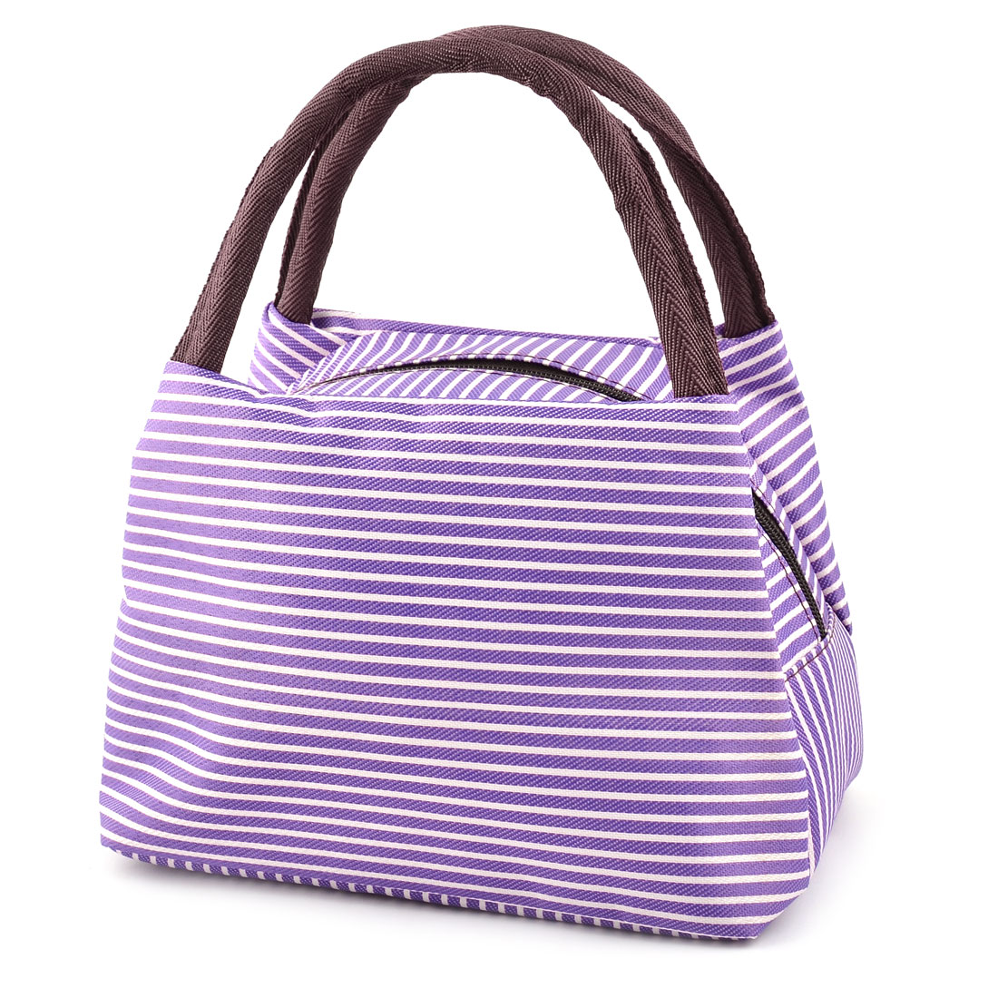 Outdoor Home Linen Cotton Stripe Pattern Lunch Holder Cooler Pouch Tote Bag