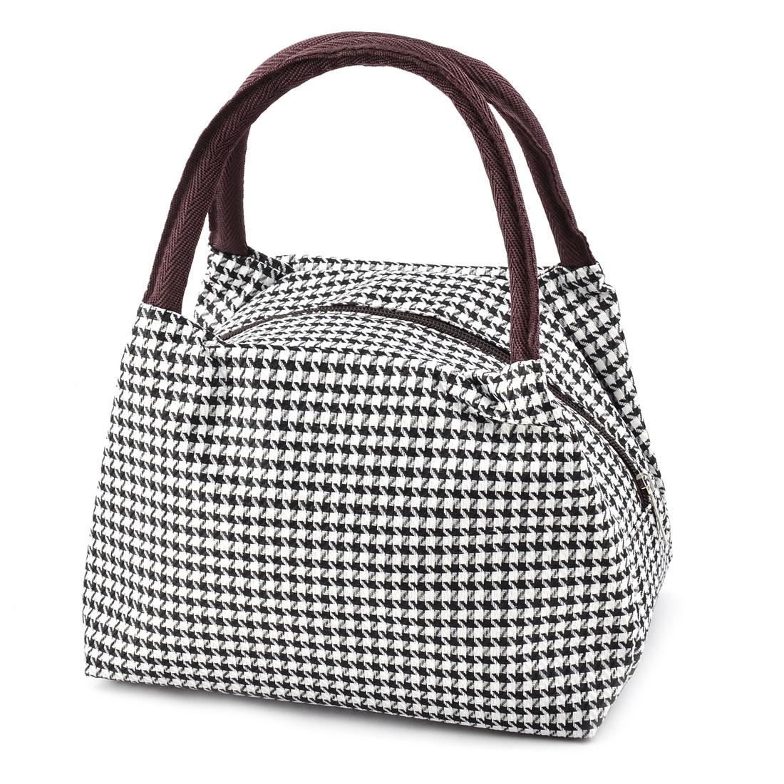 Outdoor Linen Cotton Stripe Pattern Lunch Holder Cooler Pouch Bag Black White