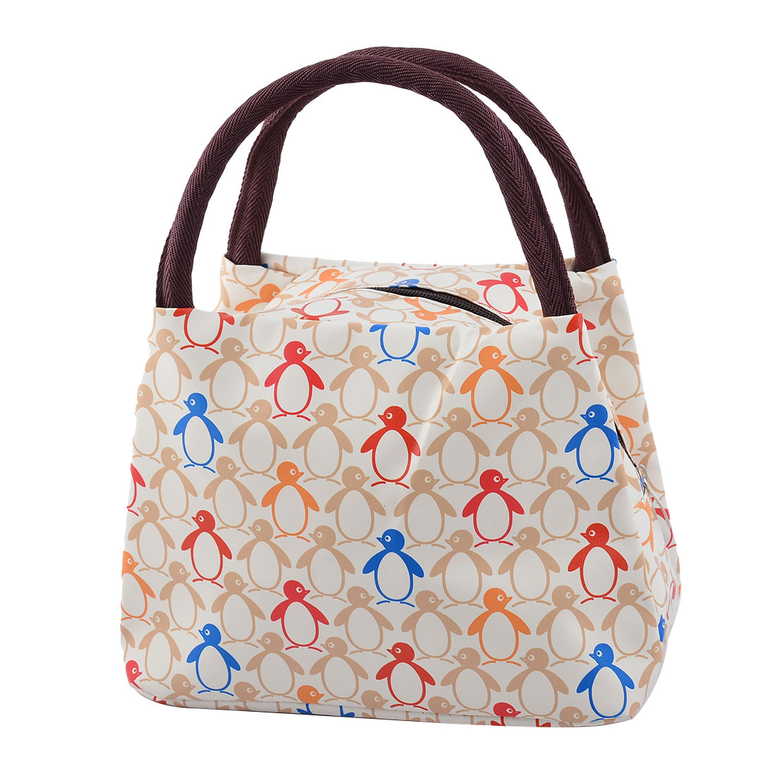 Outdoor Family Oxford Cloth Penguin Pattern Lunch Holder Cooler Pouch Tote Bag