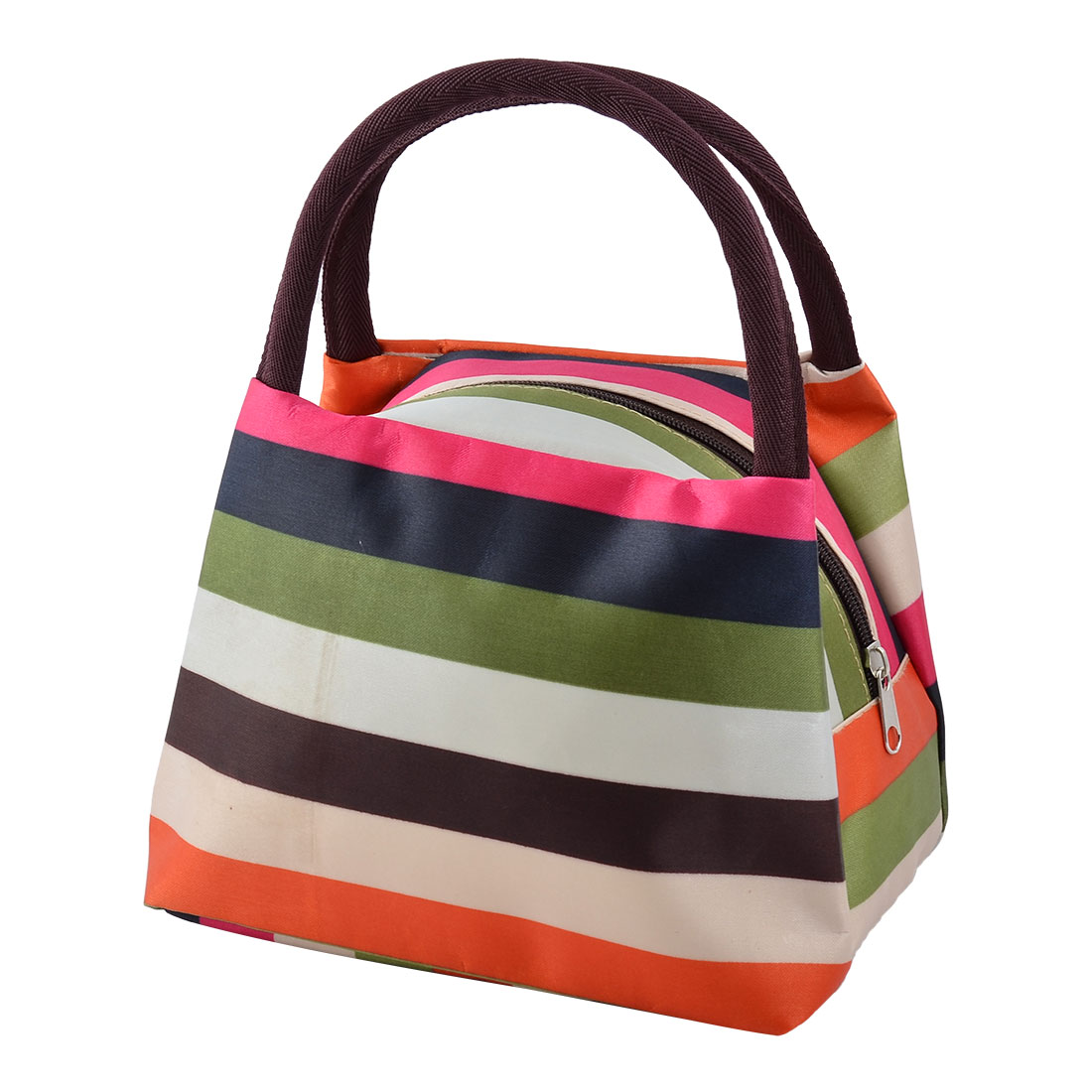 Office Family Oxford Cloth Stripe Pattern Lunch Holder Cooler Pouch Handbag Bag