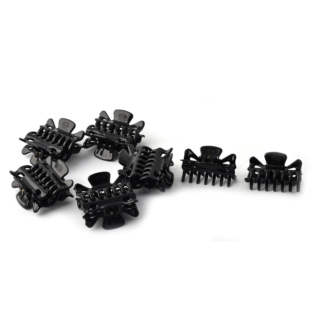 Woman Plastic Hairdressing Alligator Claw Clips Hairclips Black 12pcs