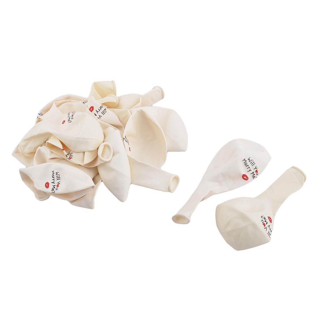 Latex Letter Lip Print Round Design Inflation Balloon Wedding Party Celebration Ornament White 11.8 Inch 20pcs