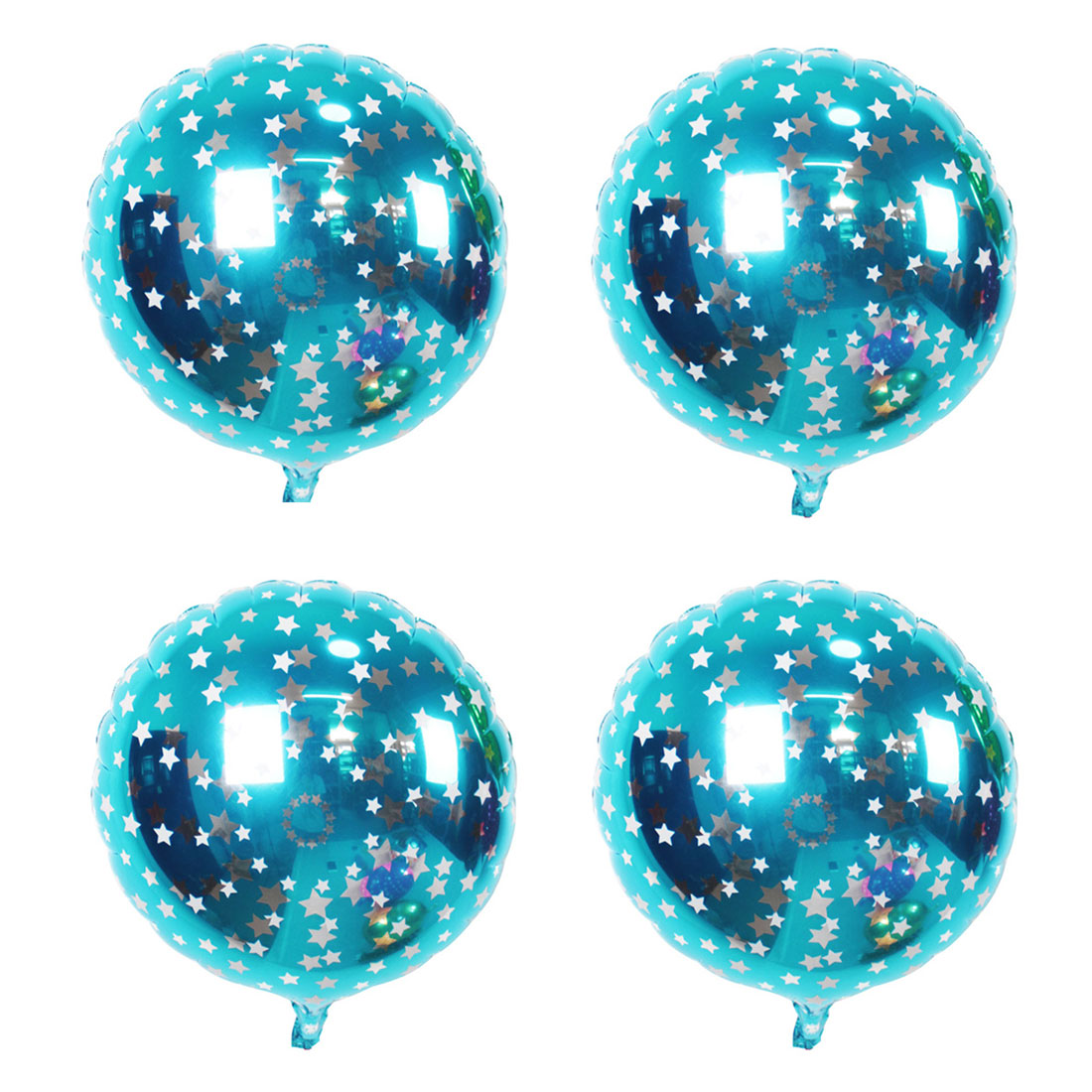 Home Birthday Wedding Foil Star Pattern Round Inflation Balloon Sky Blue 18 Inches 4pcs