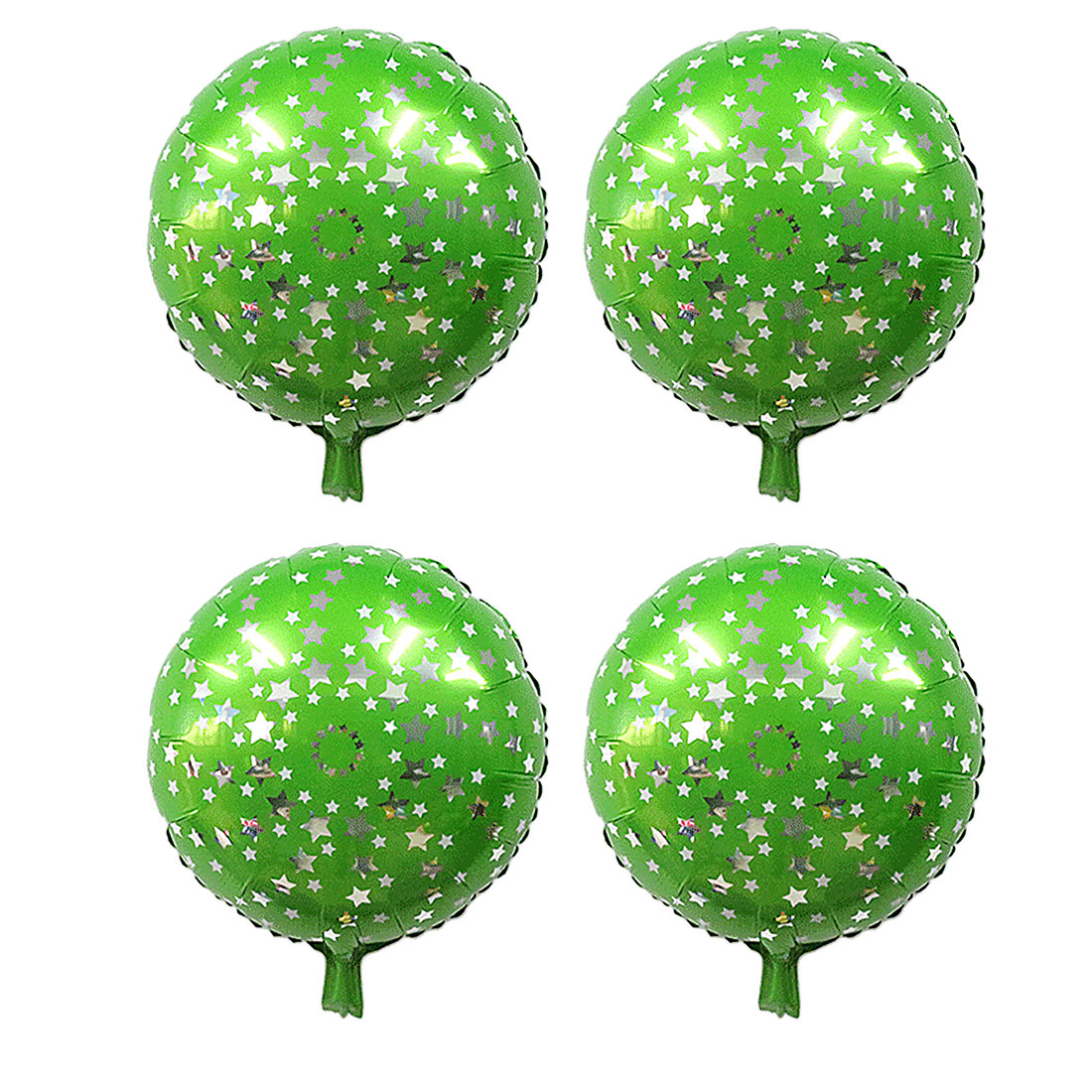 Home Birthday Wedding Foil Star Pattern Round Inflation Balloon Green 18 Inches 4pcs