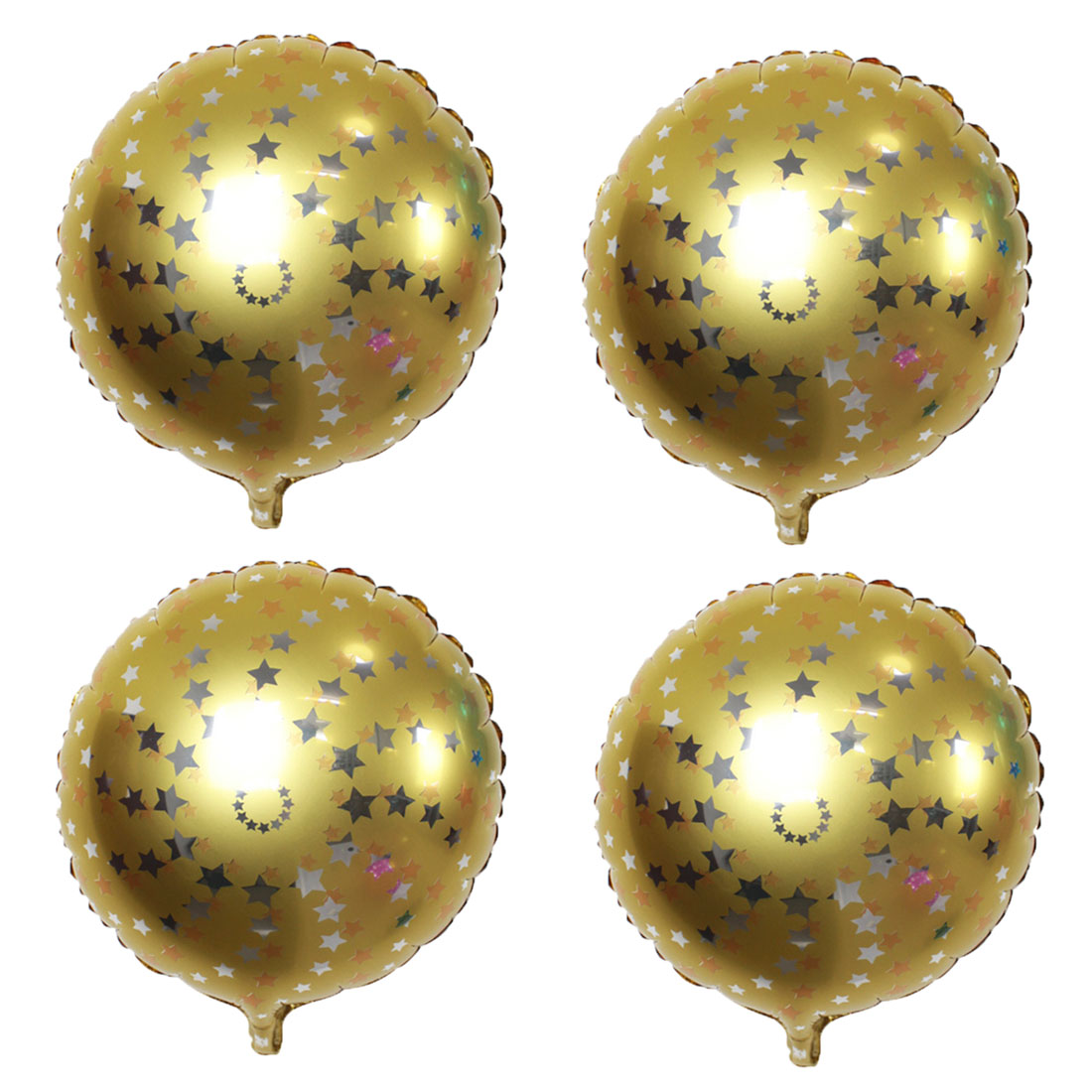Home Birthday Wedding Foil Star Pattern Round Inflation Balloon Gold Tone 18 Inches 4pcs