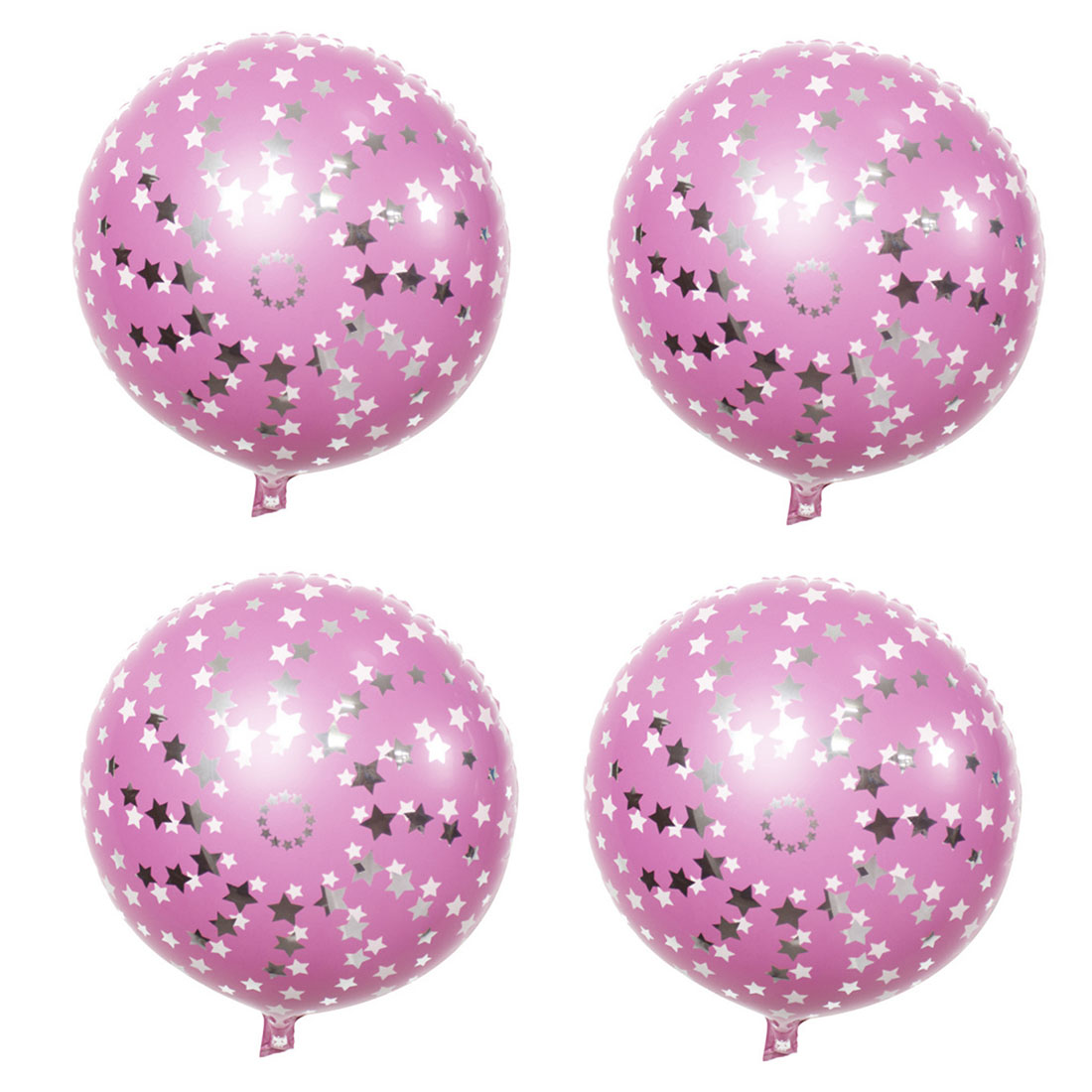 Home Birthday Wedding Foil Star Pattern Round Inflation Balloon Pink 18 Inches 4pcs