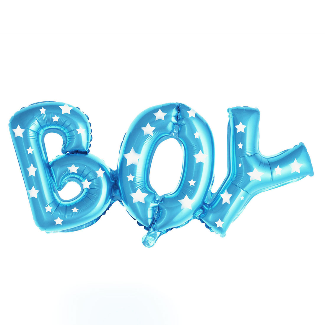 Home Foil Star Print Boy English Letter Shaped Balloon Birthday Party Decor Blue 26 Inch