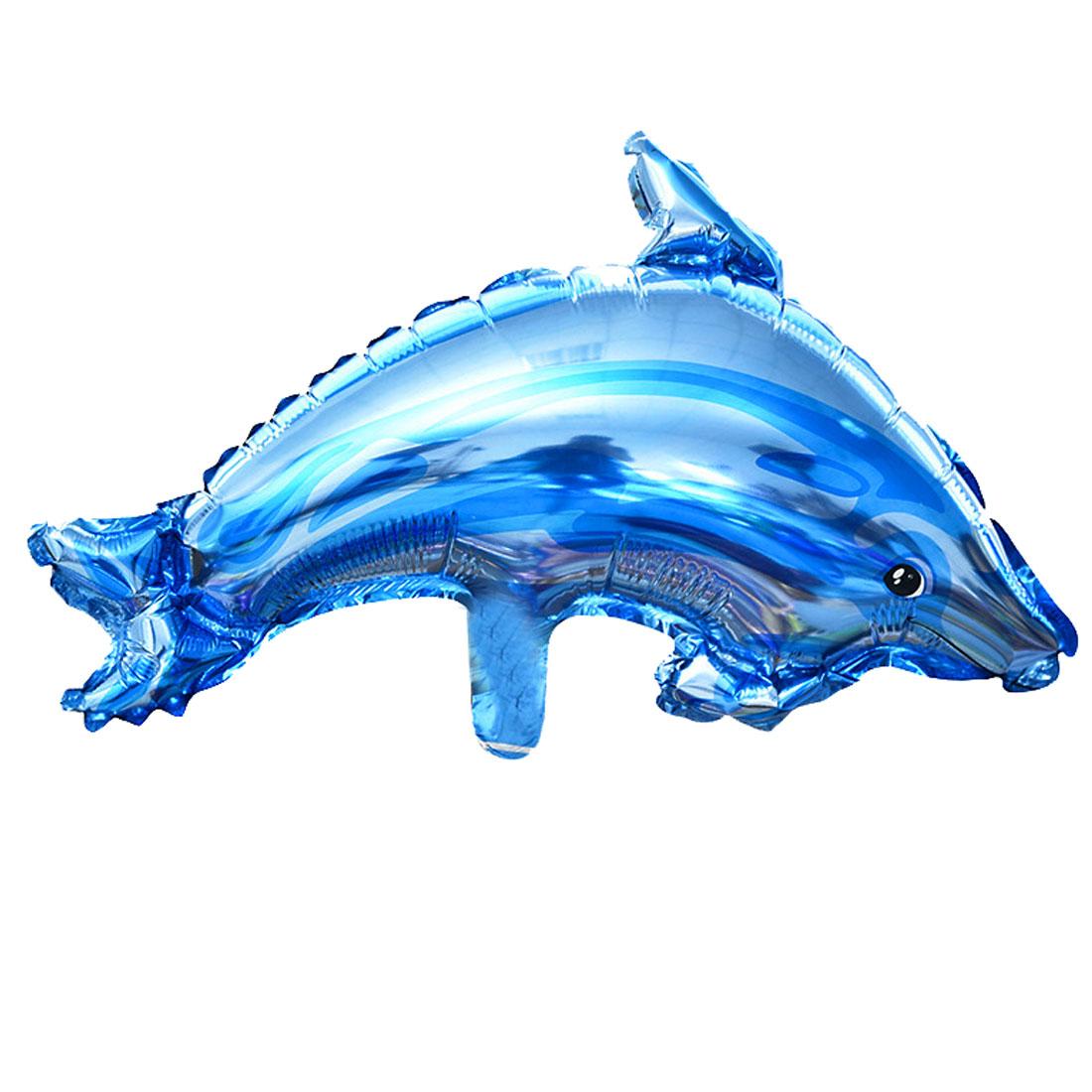 Festival Decor Foil Dolphin Shape Inflation Helium Balloon Royal Blue 14.6 Inch
