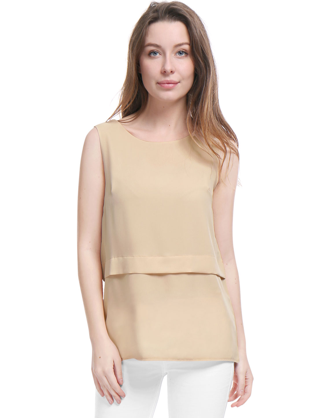 Women Chiffon Round Neckline Layered Sleeveless Top Beige M