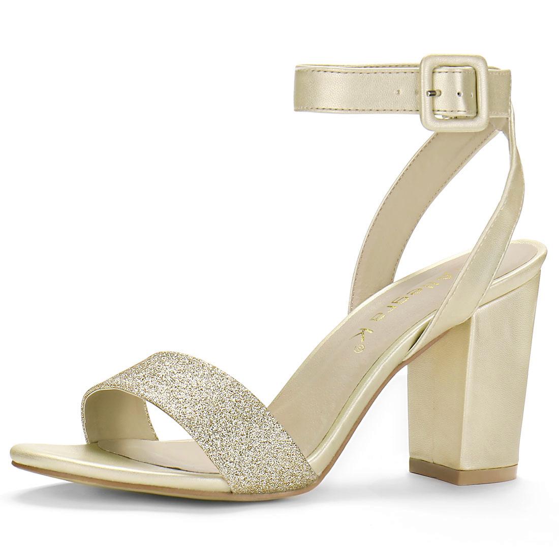 Women's Slingback Ankle Strap High Heels Sandals Gold-2 US 7.5