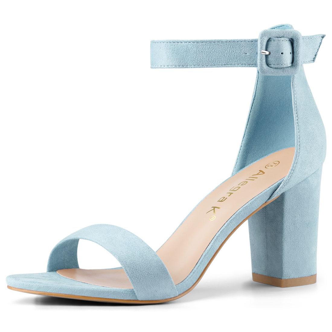 Allegra K Women's Open Toe Chunky High Heel Ankle Strap Sandals Sky Blue US 8.5