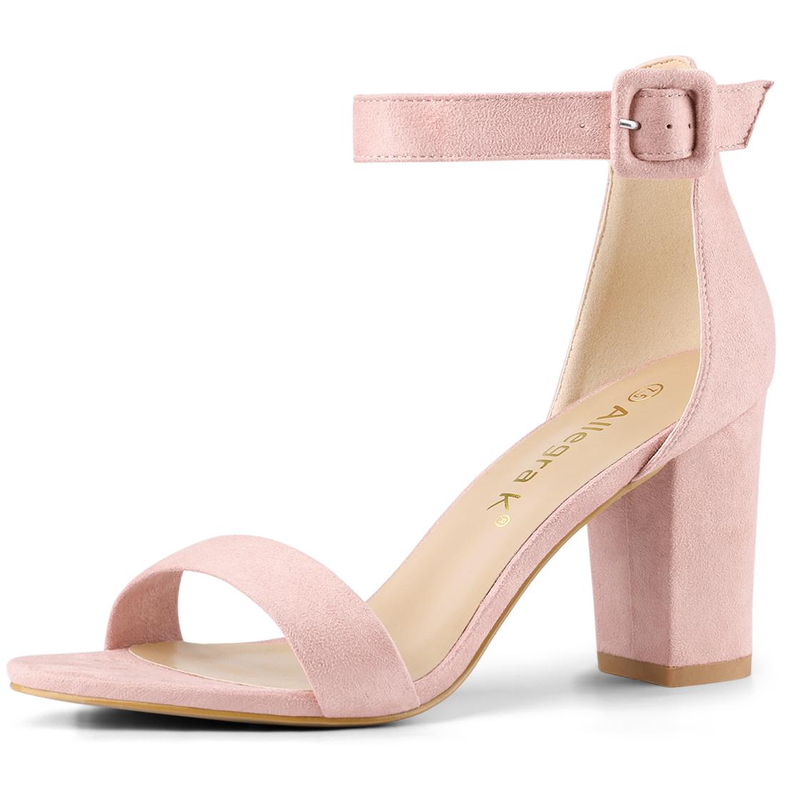 Allegra K Women's Chunky High Heel Ankle Strap Sandals Light Pink US 7.5