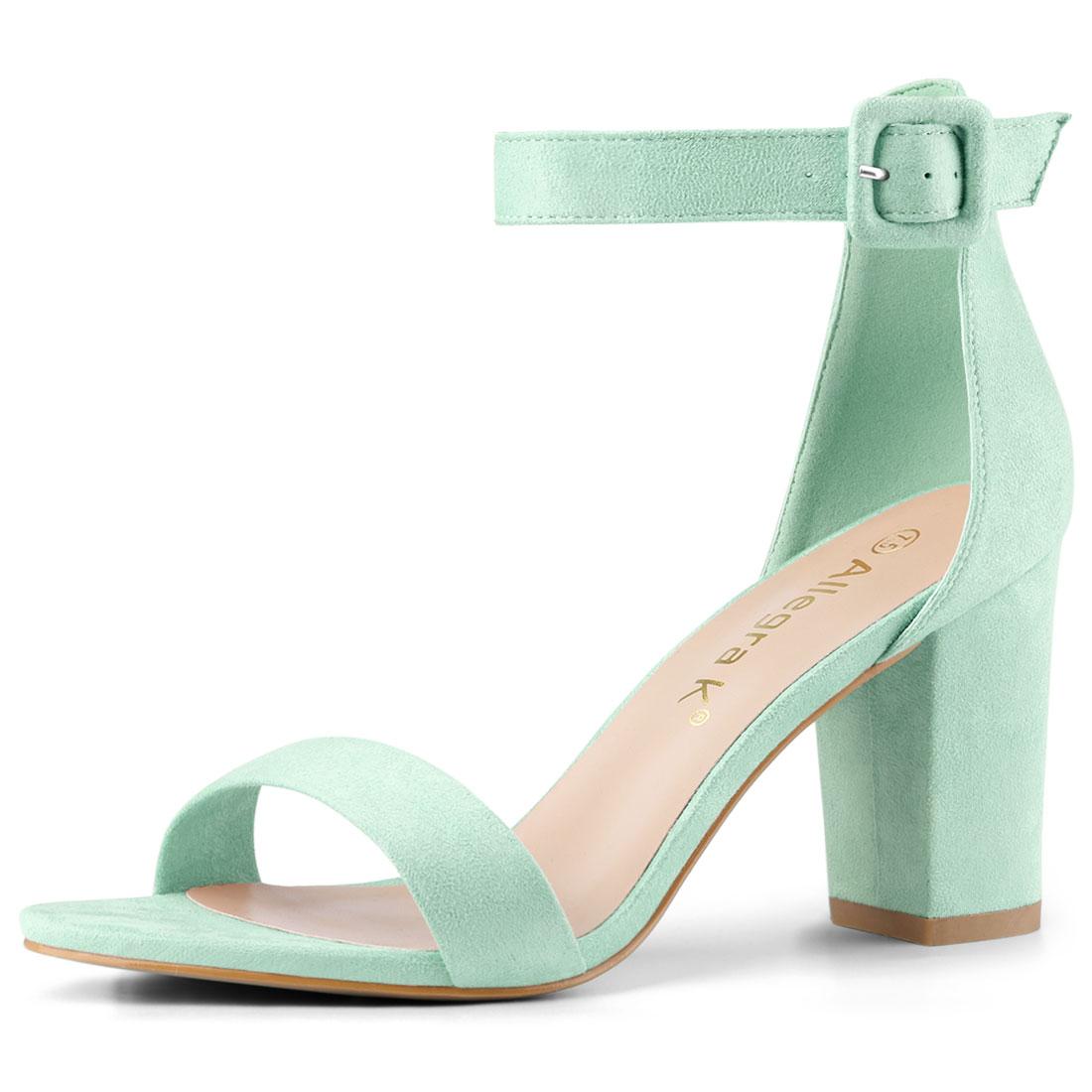 Allegra K Women's Chunky High Heel Ankle Strap Sandals Light Green US 7