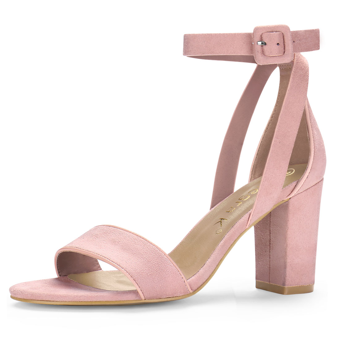 Women PU Panel Piped Chunky Heel Ankle Strap Sandals Light Pink US 7.5