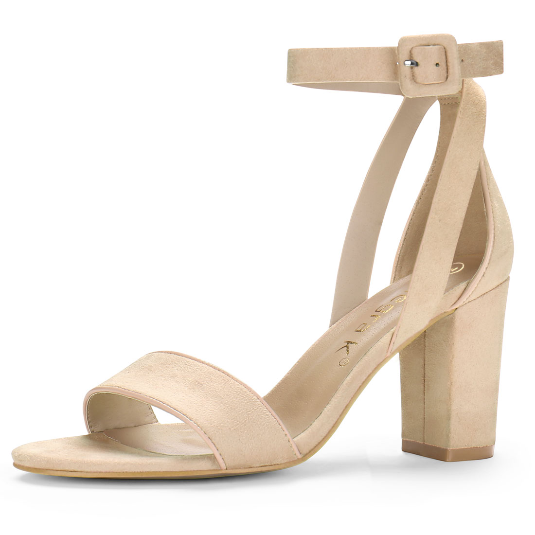Women PU Panel Piped Chunky Heel Ankle Strap Sandals Beige US 7.5