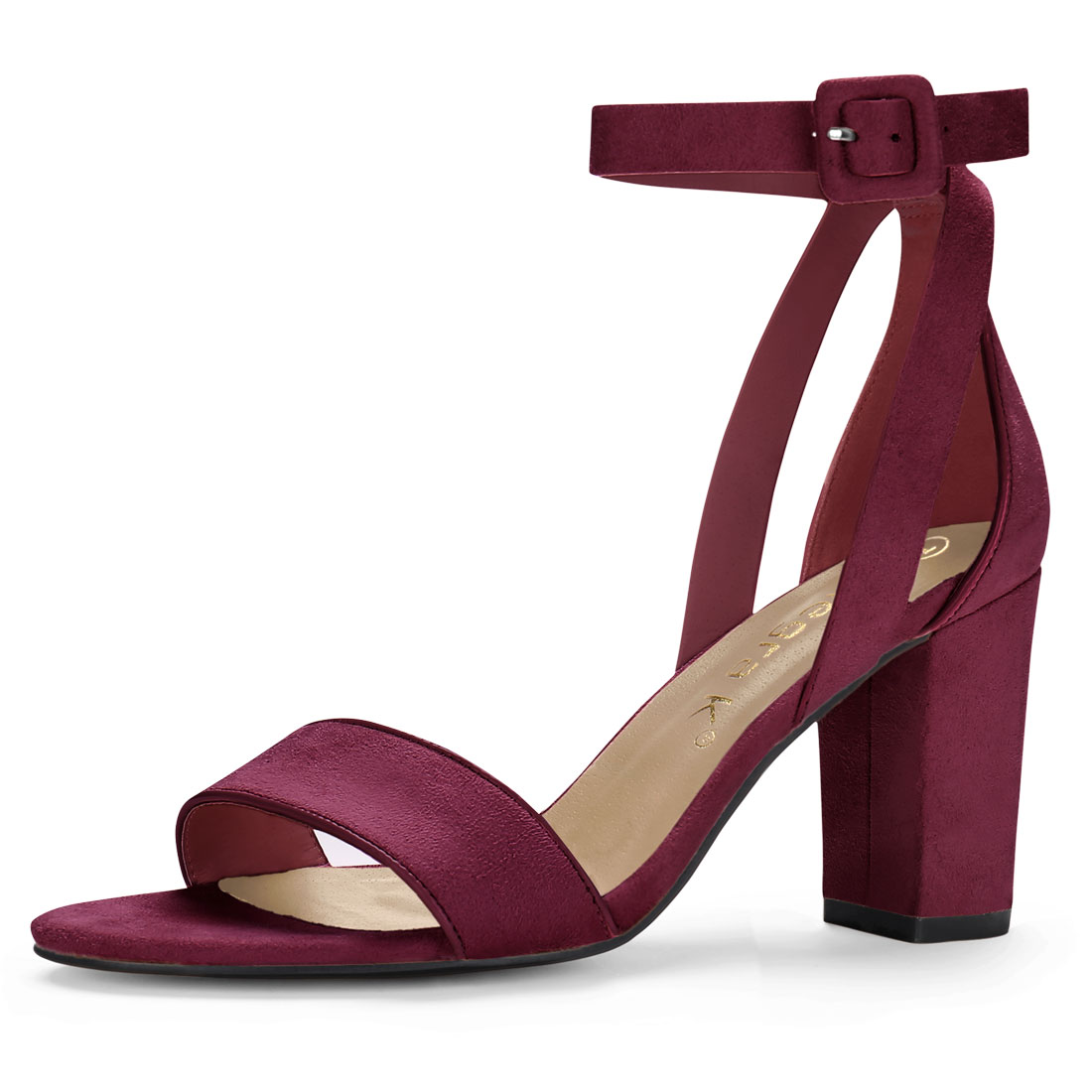 Women PU Panel Piped Chunky Heel Ankle Strap Sandals Burgundy US 6