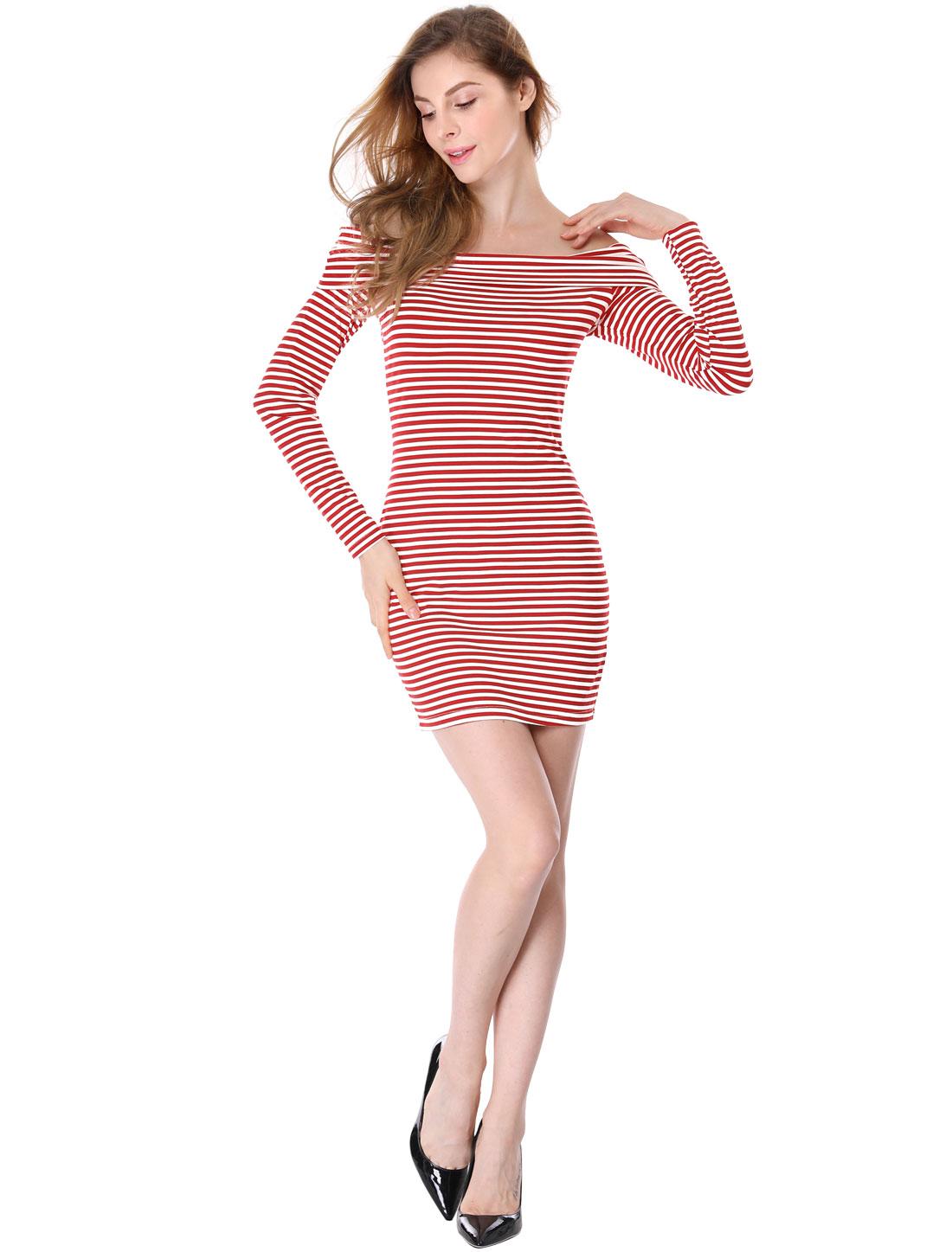 Women Off Shoulder Long Sleeves Slim Fit Stripes Mini Dress Red XL