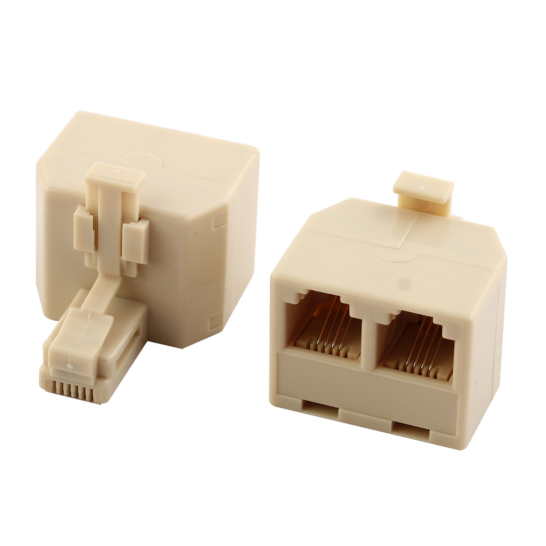 Plastic RJ11 1 Male to 2 Female Cable Cord Line Adapter Connector Splitter 2 Pcs
