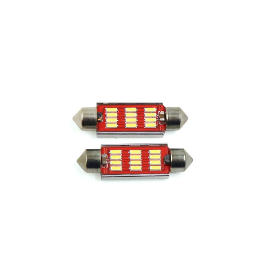 2Pcs 41mm Silver Tone Shell White 12 LED SMD Car Festoon Dome Map Light Interior