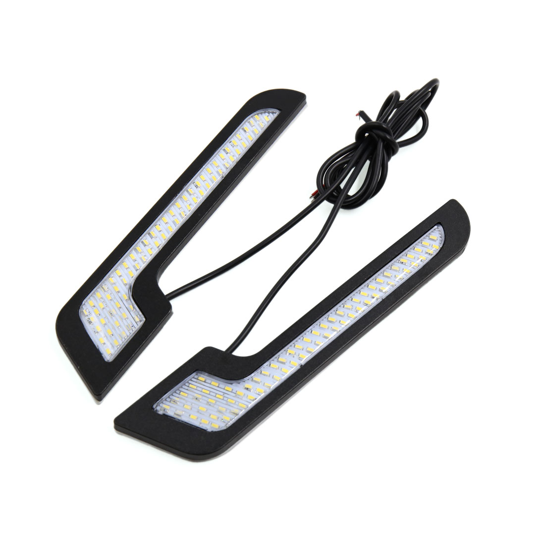 2Pcs Black Shell White 72 LED 7 Shape Adhesive Daytime Running Light Lamp for Car