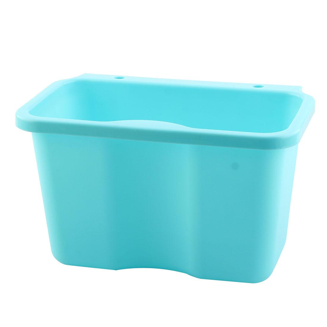 Kitchen Plastic Rectangle Hanging Sundries Rubbish Storage Box Basket Sky Blue