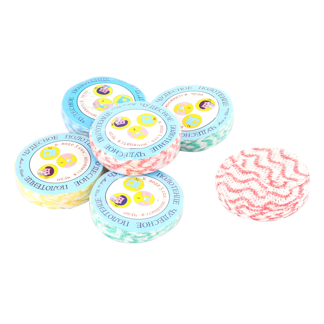Outdoor Non-woven Disposable Compressed Bathing Towel Assorted Color 6pcs