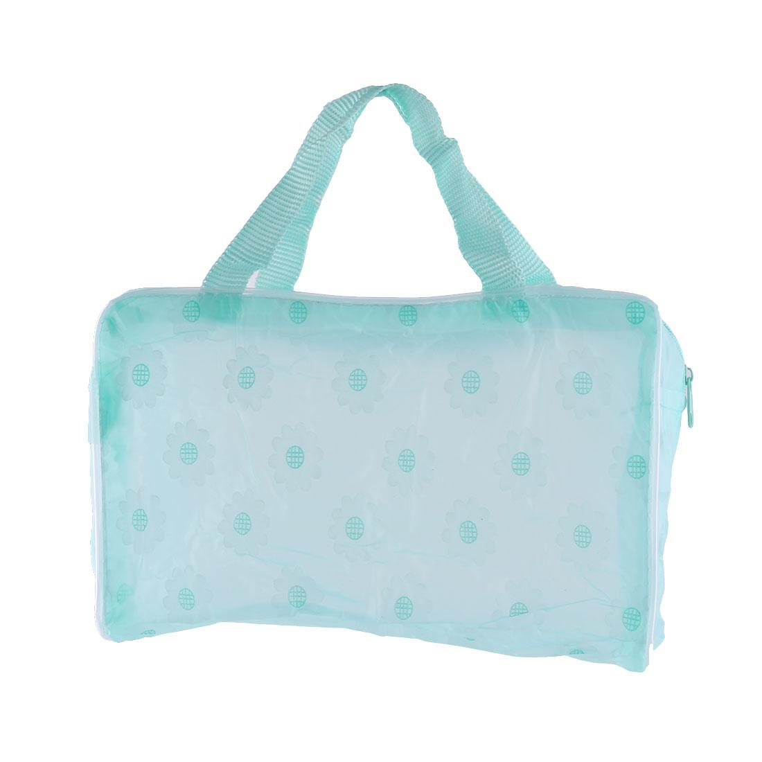 Travel PVC Flower Pattern Zipper Closure Cosmetics Storage Wash Bag Green
